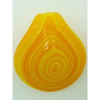 Pendentif Rond épais spirale jaune et orange 50mm en verre