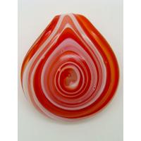 Pendentif Rond épais spirale rouge et blanc 50mm en verre