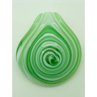 Pendentif Rond épais spirale vert et blanc 50mm en verre