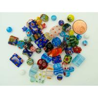 Lot 55 perles verre MILLEFIORI mix tailles formes et couleurs