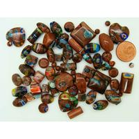 Lot 62 perles verre MILLEFIORI marron pailleté mix tailles formes