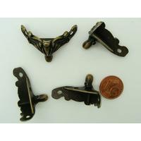 Pieds déco boite 28x21mm métal couleur Bronze par 4 pcs