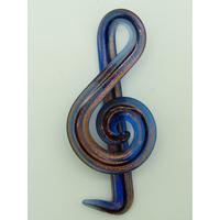 Pendentif Musique Clé de Sol  65mm Bleu Foncé et doré en verre lampwork