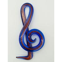 Pendentif Musique Clé de Sol 65mm Bleu Marine et doré en verre lampwork