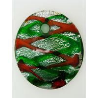Pendentif VERRE ovale bombé 52cm feuille argenté fond vert hachures