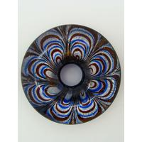 Pendentif donut motif pétales fleur revers Bleu foncé 43mm