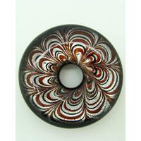 Pendentif donut motif pétales fleur revers noir 43mm