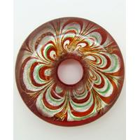 Pendentif donut motif pétales fleur revers rouge 43mm
