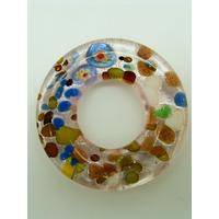 Pendentif donut fond argenté et rose touches multicolores rond 38mm