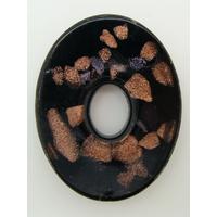 Pendentif Noir VERRE Ovale donut 45mm avec touches dorées