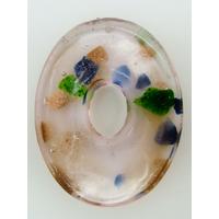 Pendentif Rose VERRE Ovale donut 45mm avec touches dorées et multicolores