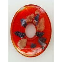 Pendentif Rouge VERRE Ovale donut 45mm avec touches dorées et multicolores