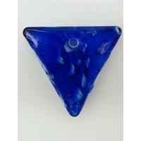 Pendentif Bleu foncé VERRE TRIANGLE 36mm avec touches blanches