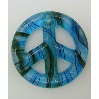 Pendentif Peace and Love Bleu feuille argentée 48mm verre