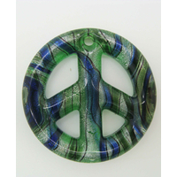 Pendentif Peace and Love Vert feuille argentée 48mm verre