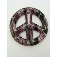 Pendentif Peace and Love Violet feuille argentée 48mm verre