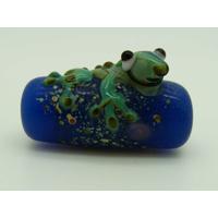 Perle GRENOUILLE verre LAMPWORK Bleu 22mm par 1 pc