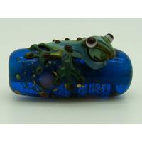 Perle GRENOUILLE verre LAMPWORK Bleu transparent 22mm par 1 pc