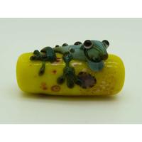Perle GRENOUILLE verre LAMPWORK Jaune 22mm par 1 pc