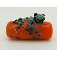 Perle GRENOUILLE verre LAMPWORK Orange 22mm par 1 pc