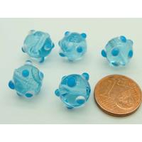 Perles Bleu picots blanc et bleu verre Lampwork 10mm par 5 pcs