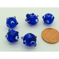 Perles Bleu Foncé picots blanc et bleu foncé verre Lampwork 10mm par 5 pcs