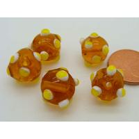 Perles Marron picots blanc et jaune verre Lampwork 10mm par 5 pcs