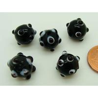 Perles Noires picots noirs et blancs verre Lampwork 10mm par 5 pcs