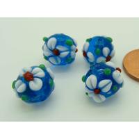 Perles Bleues Fleurs blanches 11mm verre Lampwork par 4 pcs