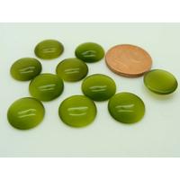 Cabochons verre Oeil de Chat Ronds 11mm Vert Olive par 10 pcs