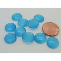 Cabochons verre Oeil de Chat Ronds 11mm Vert Bleu Azur par 10 pcs