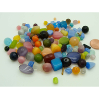 Perles verre Oeil de Chat lot mélange aléatoire par 75 grammes