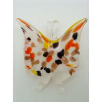 Pendentif Papillon blanc touches multicolores 40mm en verre lampwork