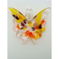 Pendentif Papillon beige touches multicolores 40mm en verre lampwork