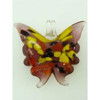 Pendentif Papillon violet touches multicolores 40mm en verre lampwork