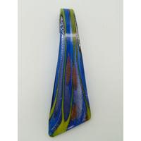 Pendentif triangle bleu foncé argenté et doré 70mm en verre