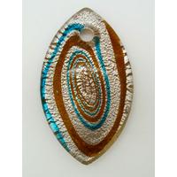 Pendentif ovale marron bleu et argenté 60mm avec motifs spirales en verre