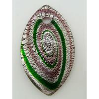 Pendentif ovale violet vert et argenté 60mm avec motifs spirales en verre
