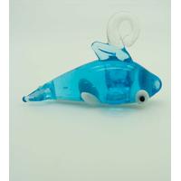 Pendentif Baleine Orque bleu et blanc 32mm animal en verre lampwork