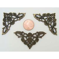 Coins angles Coeurs décoratifs embellissement 35x35mm métal couleur Bronze par 4 pcs