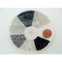 Rocaille 3mm 6 couleurs Noir et Blanc MOD17 par 1 boîte