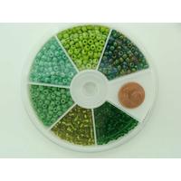 Rocaille 3mm 6 couleurs VERTS MOD19 par 1 boîte
