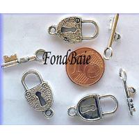 Fermoirs TOGGLE CADENAS MOD13 ARGENT VIEILLI par 5 pcs