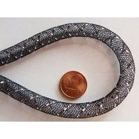 Fil Résille tubulaire NOIR + ruban argenté 8mm par 5 mètres