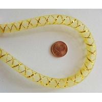 Fil Résille tubulaire JAUNE + ruban dore 8mm par 5 mètres