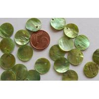 Perles Nacre SEQUINS 13mm VERT par 20 pcs
