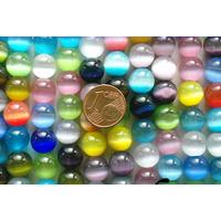 Perles verre Oeil de Chat rondes 10mm par 38 pcs