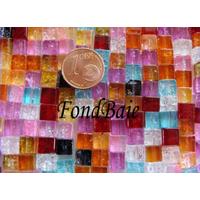 Perles verre Craquelé cubes 6mm MIX par 63 pcs