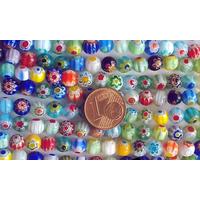 Perles verre Millefiori rondes 6mm MIX par 65 pcs