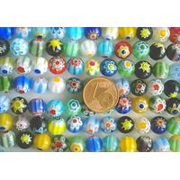 Perles verre Millefiori rondes 8mm MIX par 48 pcs